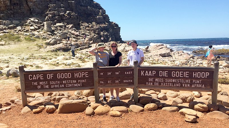 Juleferien utenlands. Sør-Afrika. Cape of good hope. Familie på tur.