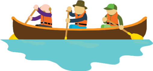 An illustration of three men in a canoe