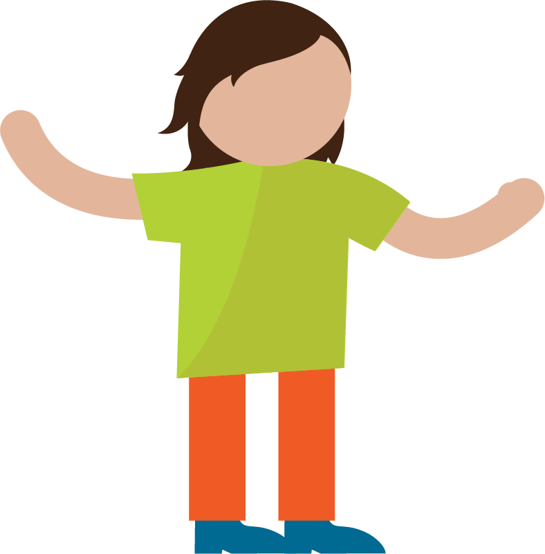 An illustration of a person with their arms up