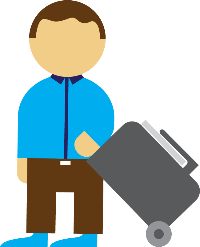 An illustration of a person travelling with a suitcase