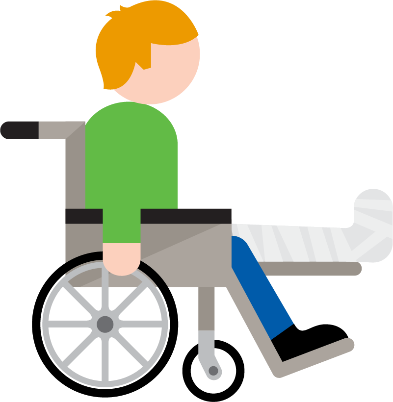 An illustration of a person in a wheelchair