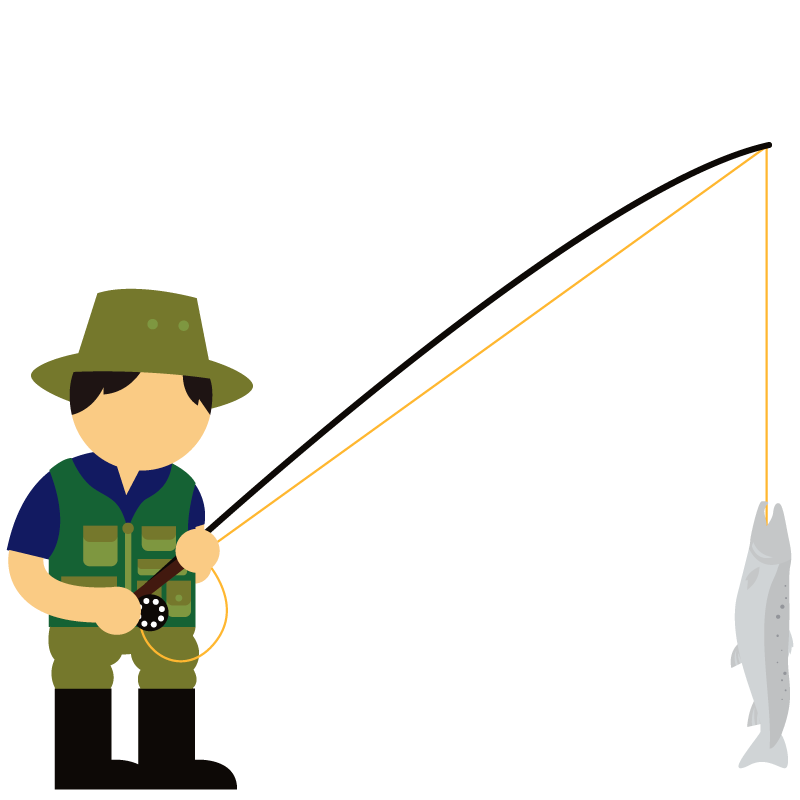 An illustration of a fisherman with a fish on is hook