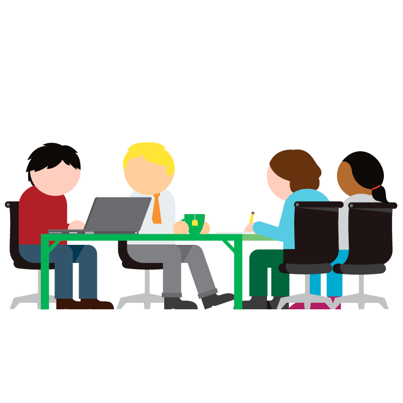 An illustration of sveral people discussing something in a job meeting.
